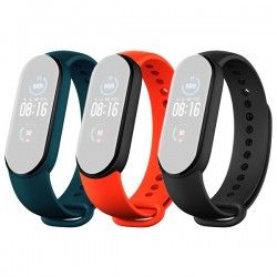 Set 3 curele Bratara fitness Xiaomi Mi Smart Band 5 - Teal, Portocaliu, Negru